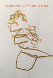 So malt ein blindes Kind einen Weihnachtsbaum.