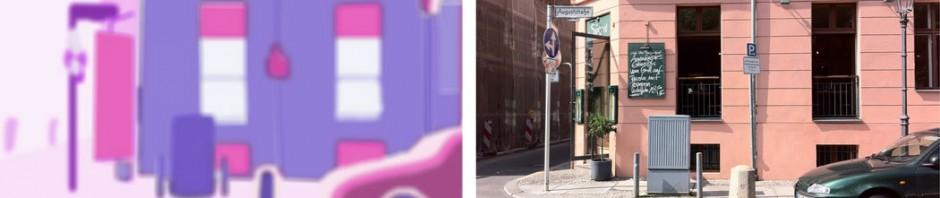 """Auf dem linken Bild werden die wahrnehmbaren Informationen nur zum Teil simuliert. Mit der Entfernung des Objektes nimmt die Verzögerung des Echos zu (Echo zunehmend schwächer dargestellt). Ein flacher Winkel z.B. vom Asphalt wirft kaum Signale zurück (Echo schwächer dargestellt). Unterschiedliche Materialien (Stein, Glas, Blech in verschiedenen """"Klangfarben"""") werfen unterscheidbare Echos zurück. Entfernung, Material und Dichte werden also genau wie bei Sehenden unbewusst und räumlich wahrgenommen."""