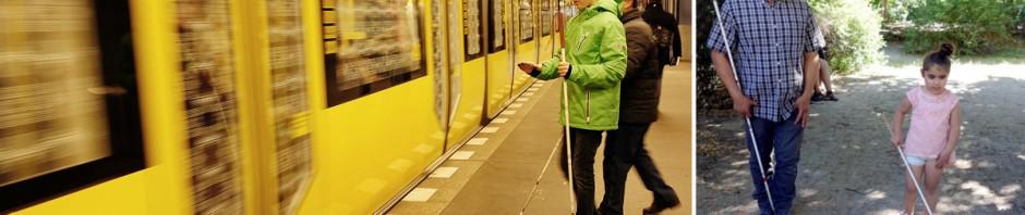 Juan Ruiz mit Schülern beim Mobilitätstraining in der U-Bahnstation und auf unbefestigten Wegen