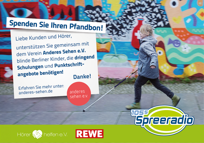 Rewe Plakat zur Pfandbon Aktion in Berlin
