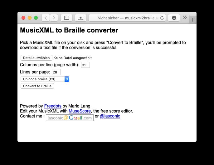Bildschirmfoto MusicXML to Braille converter