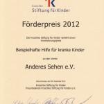 Urkunde Kroschke Stiftung Förderpreis